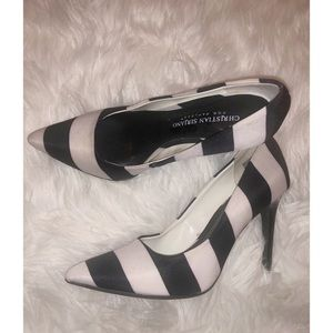 Christian siriano black and white stripes heels ✨